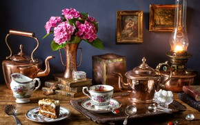 Картинка цветы, чай, букет, торт, натюрморт