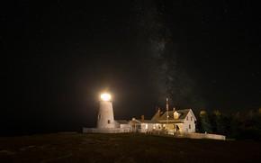 Картинка небо, звезды, свет, деревья, ночь, яркий, огни, дом, темнота, берег, забор, маяк, освещение, домик, млечный ...
