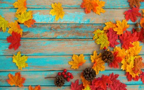 Картинка осень, листья, фон, дерево, colorful, vintage, wood, background, autumn, leaves, maple