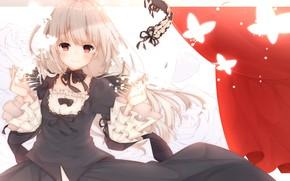 Картинка взгляд, девушка, бабочки, rozen maiden, suigintou