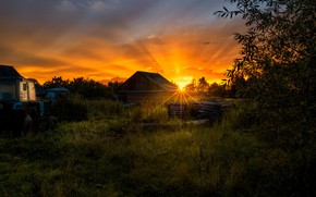 Картинка лето, небо, солнце, закат, природа, дом, вечер, Alexander Novikov