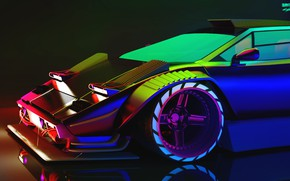 Картинка Авто, Lamborghini, Неон, Машина, Хамелеон, Car, Art, Neon, Countach, Рендеринг, Concept Art, Lamborghini Countach, Cyberpunk ...