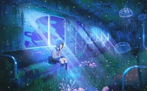 Картинка девушка, поезд, фэнтези, медузы, под водой