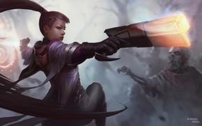Картинка девушка, пистолет, арт, зомби, League of Legends, Лига легенд