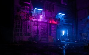 Картинка Ночь, Человек, Стиль, Render, Style, Neon, Illustration, Synth, Вывески, Retrowave, Synthwave, New Retro Wave, Futuresynth, …