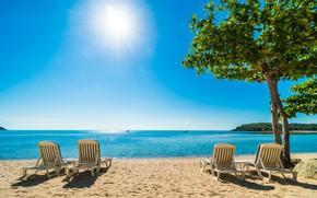Картинка песок, море, пляж, лето, небо, солнце, берег, шезлонг, summer, beach, sea, seascape, beautiful, sand, paradise, …