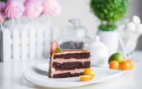 Картинка тарелка, пирожное, шоколадное