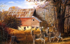 Картинка лес, дом, рисунок, картина, арт, три, живопись, олени, James Kennedy
