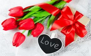 Картинка любовь, подарок, букет, лента, тюльпаны, красные, red, love, heart, flowers, romantic, tulips, valentine's day, gift …