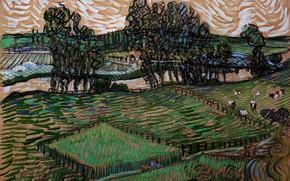 Картинка Landscape, Vincent van Gogh, with Bridge across, the Oise