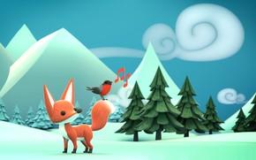 Картинка зима, лес, снег, арт, лисичка, снегирь, детская, Olivier PAUTOT, Winter is coming!