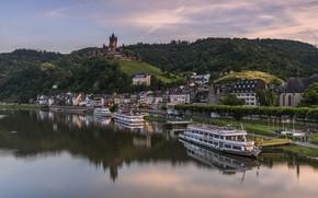 Картинка река, замок, Германия, лайнер, Кохем