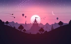 Картинка Pink, Android, Purple, Games, Stars, Landscape, Sunset, Temple, iOS, Minimalism, Hill, Minimalist, Dunes, Noodlecake Studios …