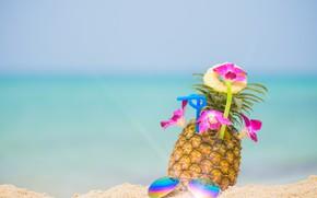 Картинка песок, море, пляж, лето, небо, отдых, очки, relax, summer, ананас, beach, каникулы, sea, sand, pineapple, …