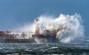 Картинка шторм, стихия, волна, маяк