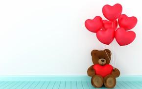 Картинка любовь, игрушка, сердце, мишка, сердечки, red, love, bear, heart, wood, romantic, teddy, valentine's day, gift, …