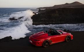 Картинка волны, красный, скалы, берег, 911, Porsche, Speedster, 991, 2019, 991.2