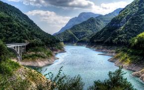 Картинка горы, мост, природа, река