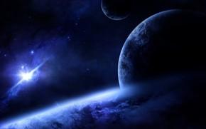 Картинка Планета, Космос, Орбита, Атмосфера, Спутники, Супернова