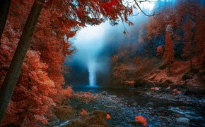 Картинка осень, природа, туман, водопад, United States, Washington, Snoqualmie Falls