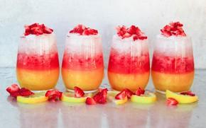 Картинка ягоды, лимон, клубника, мороженое, десерт