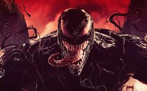 Картинка язык, пасть, комиксы, красный фон, Веном, Venom, симбиот