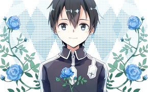 Картинка цветы, розы, парень, голубые розы, Sword Art Online, Кирито, Мастера Меча Онлайн