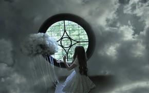 Картинка небо, девушка, окно, облока