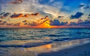 Картинка море, волны, небо, вода, солнце, облака, закат, вечер, горизонт