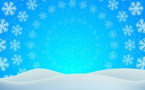 Картинка зима, снег, круги, снежинки, текстура, Рождество, сугробы, Новый год, голубой фон