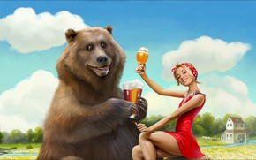 Картинка girl, Art, bear, beer, funny, picture, weekend, Situation