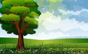 Картинка дерево, вектор, трава, поле