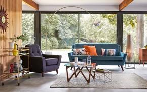 Картинка стиль, интерьер, гостиная, mid-century modern