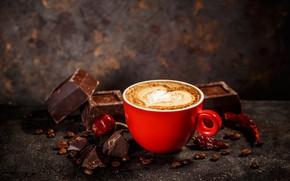 Картинка вишня, кофе, шоколад, чашка, пенка