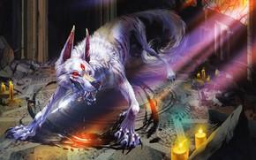 Картинка кровь, монстр, свечи, пасть, клыки, blood, monster, лучи света, candles, mouth, fangs, rays of light, …