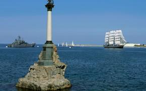 Картинка бухта, Севастополь, памятник затопленным кораблям