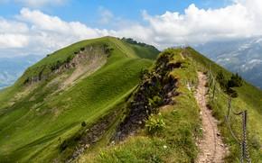 Картинка Природа, Горы, Швейцария, Альпы, Тропа, Пейзаж, Вершина