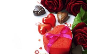 Картинка подарок, романтика, сердце, розы, конфеты, бант, Valentine's Day, День Святого Валентина