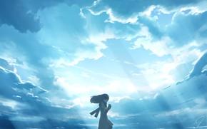 Картинка грусть, небо, девушка, лучи
