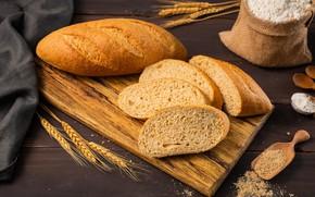 Картинка колоски, хлеб, мука, батон