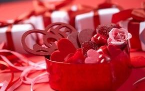 Картинка праздник, подарок, сердечки, валентинка, romantic, St. Valentine's Day
