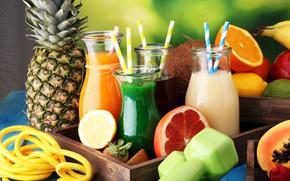 Картинка апельсин, сок, ананас, коктейли, фруктовый