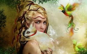 Картинка взгляд, девушка, кролик, птичка