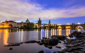 Картинка огни, река, Прага, Чехия, Влтава, Карлов Мост
