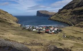 Картинка небо, облака, горы, дом, ручей, Залив, Норвегия, поселение