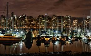 Картинка ночь, огни, берег, дома, яхты, причал, Канада, фонари, залив, Ванкувер