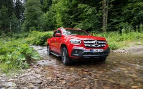 Картинка зелень, лес, красный, ручей, Mercedes-Benz, пикап, 2018, X-Class