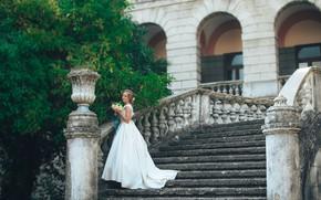 Картинка фото, букет, платье, лестница, невеста, свадьба