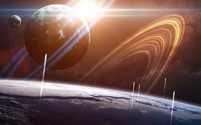 Картинка Планета, Космос, Планеты, След, Корабли, Planets, Арт, Space, Art, Космические Корабли, Космический Корабль, Кольца, Пуск, ...