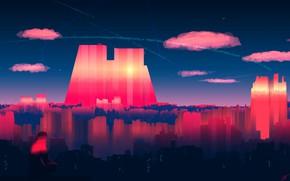 Картинка Закат, Небо, Отражение, Город, Человек, Вид, Небоскребы, City, Jungle, Fantasy, Пейзаж, Sky, Арт, Art, Glass, …